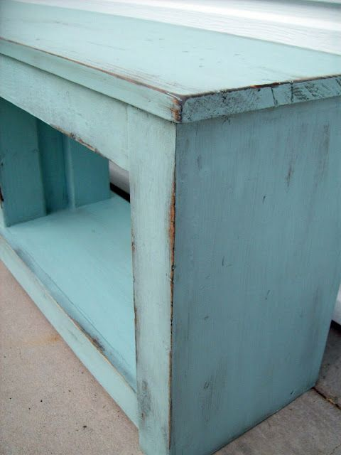 Diy Shabby Chic Distressed Look For Our Furniture Want To Do This To Church Bench With Black Under And Green Shabby Chic Diy Shabby Chic Dresser Shabby Chic