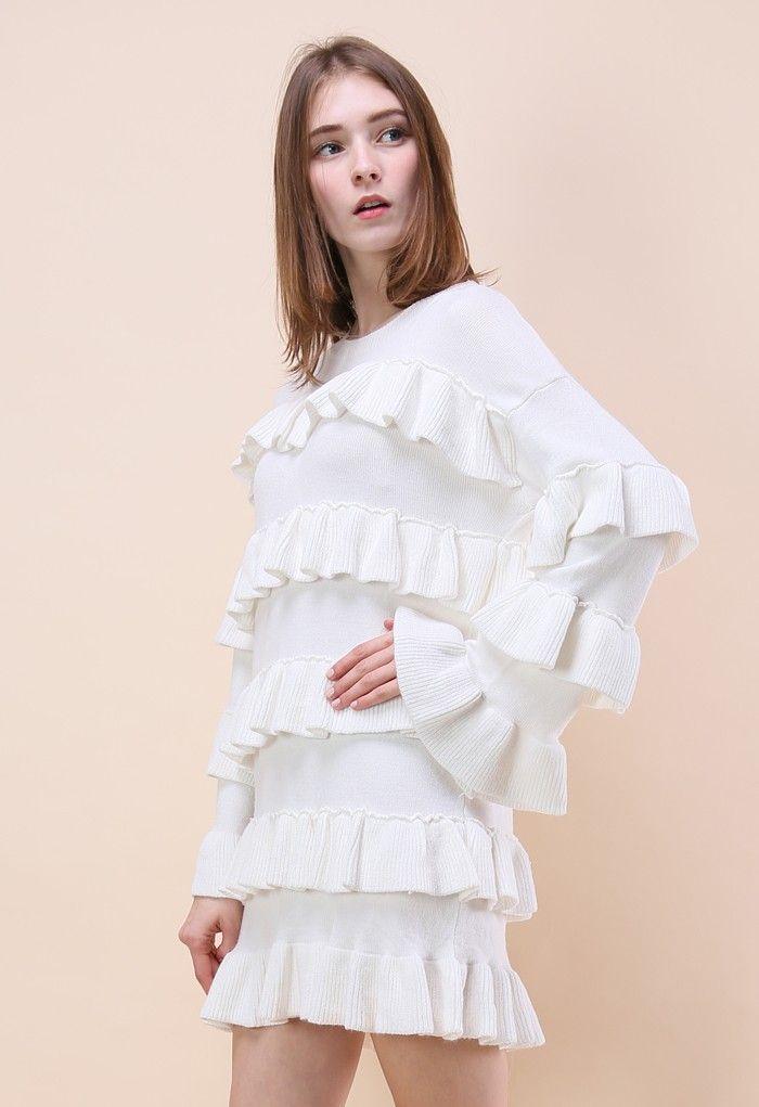 696ae0d9e2 Tiered Fantasy Sweater Dress in White - Retro