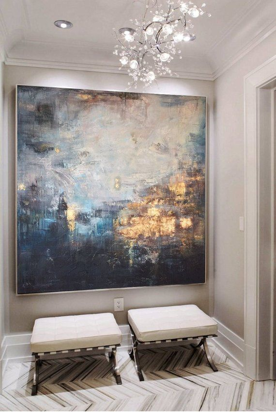 Abstract painting large gold painting blue abstract art leaf painting painting canvas - Wall paintings for living room ...