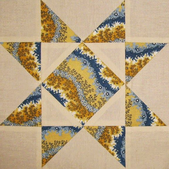 Reproduction star by Becky Brown       Vintage block, 1820-1850     Serpentine stripes, which snake along the fabric's surface, were qu...