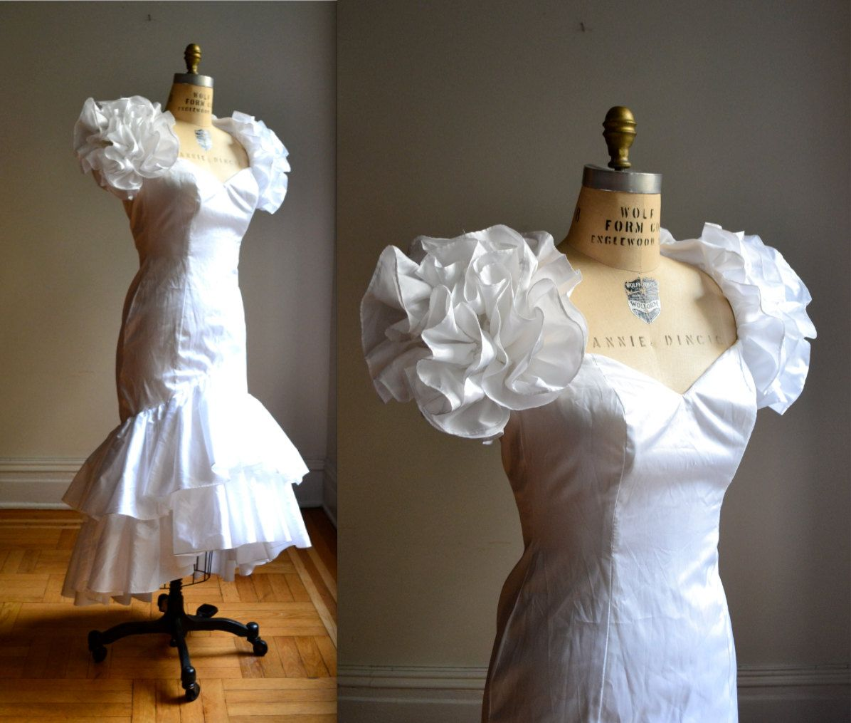 Vintage Wedding Dresses 80s: Kate's Wedding Dress White 80s Prom Dress With Puff