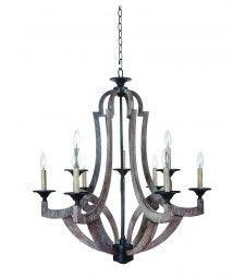 Jeremiah Lighting 9 Light Chandelier with Weathered Pine finish - 35129-WP