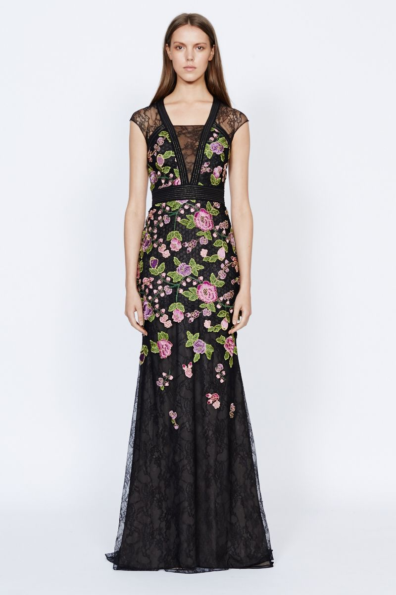 Badgley Mischka Black Floral Lace Gown EG1771 | Coming to District 5 ...
