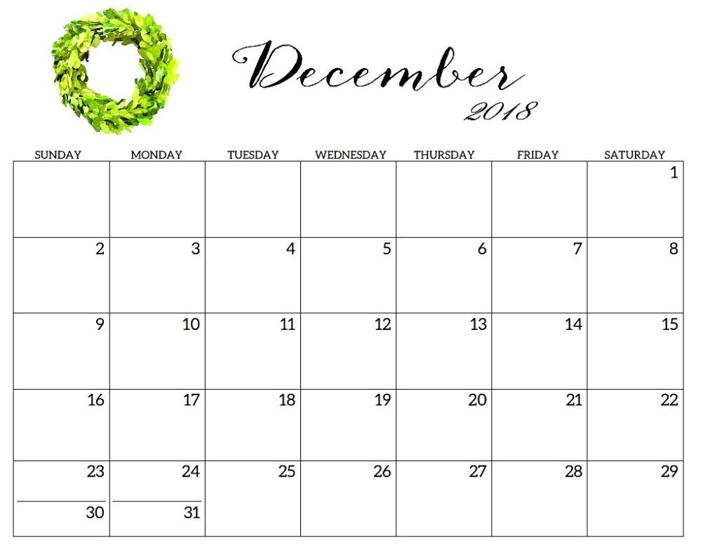 photograph relating to Printable Monthly Calendar December named Lovable December 2018 Calendar Template December 2018