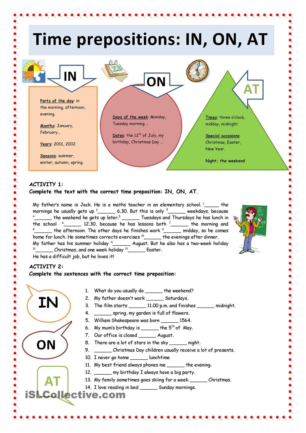 Time Prepositions IN, ON, AT English grammar, English