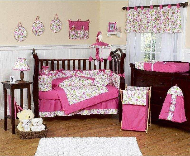 Circles Pink And Green 9 Pc Crib Bedding Set By Jojo Designs