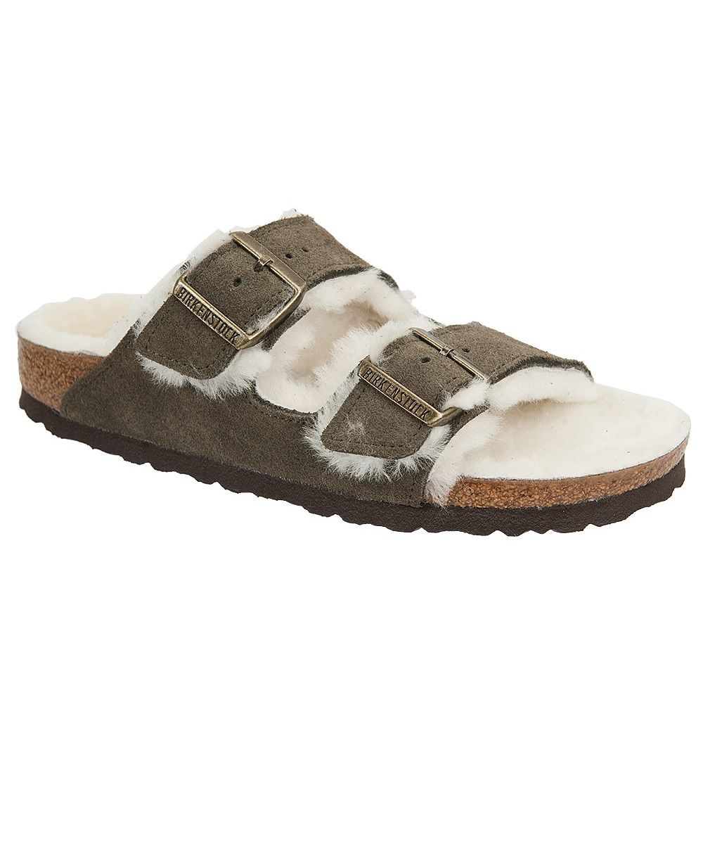 34b9a54c4847b9 Birkenstock Arizona Two Strap Sandal. Forest green suede with a creamy  white shearling lined cork footbed and straps. So soft and comfy!