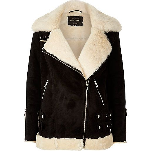 fcd2a5ab4b5f9 Faux suede with faux fur lining Oversized fit Shearling collar Asymmetric  zip front Long sleeves with zip cuffs Zip side pockets and buckled hem This  style ...