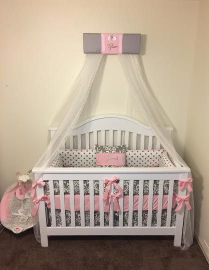 Personalized Crown Crib Teester Bed Canopy Gray Pink Girls Princess Embroidered Free Cornice Tiara Custom Made Design So Cribs Personalized Nursery Make Design