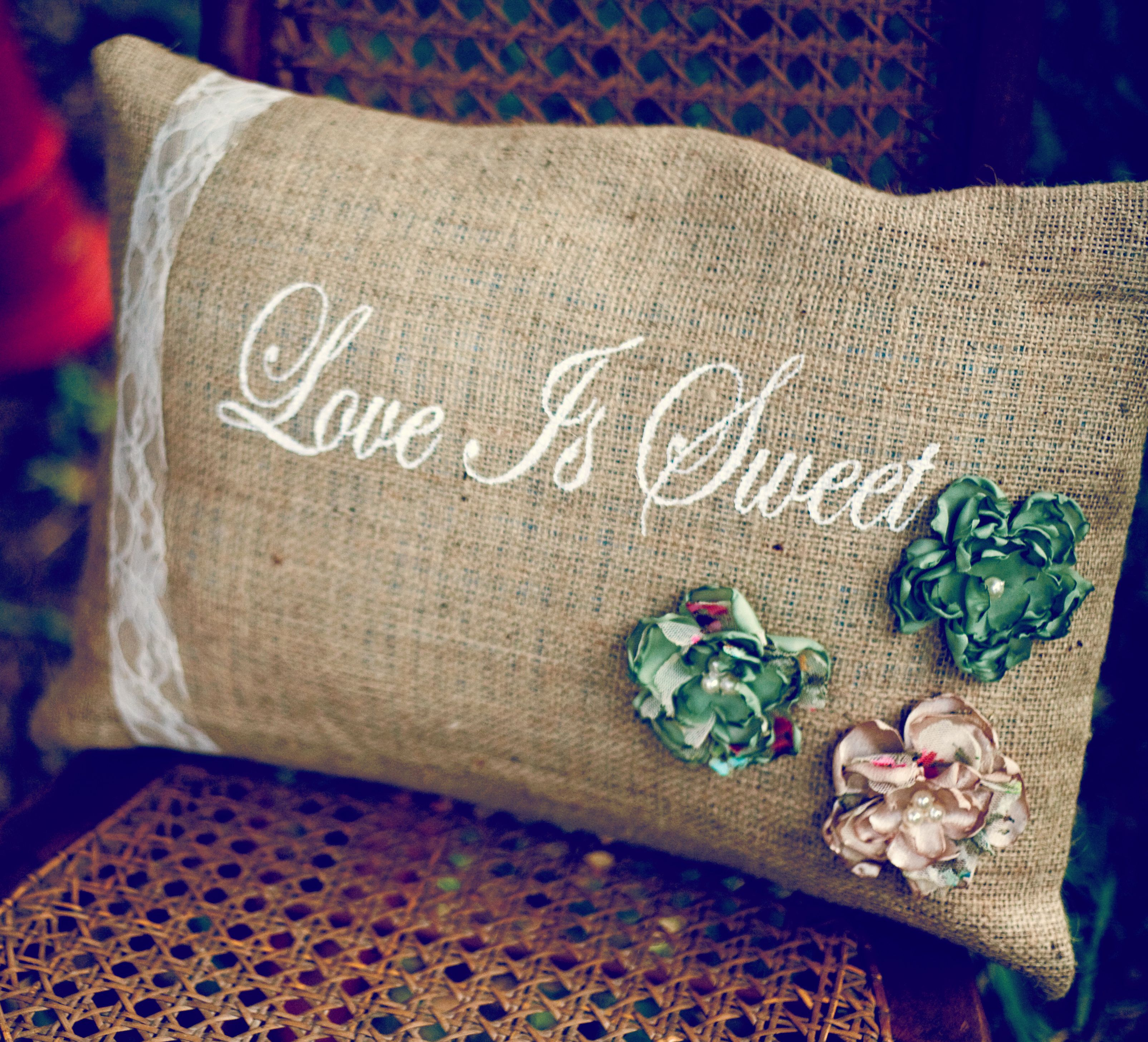 Love is sweet burlap pillow vintage wedding lave fabric flowers
