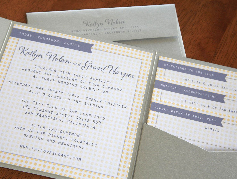 DIY City Girl Square Pocket Fold Wedding Invitations 25 sets. $125.00, via Etsy.