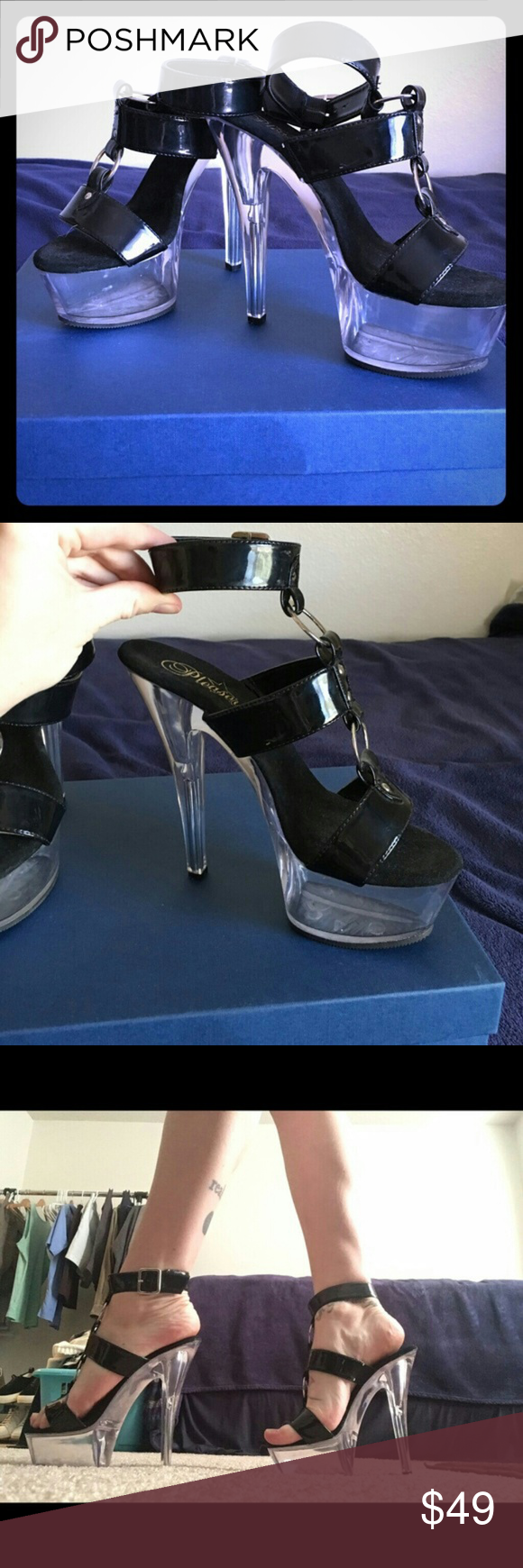 """Pleaser 6"""" strappy platform stelletoes Pleaser strappy open toe platform stelletoes with 6"""" heel and 2.5""""  clear platform over black. Very sexy for dressing up or dressing down or a night out on the town. Pleaser Shoes Platforms"""