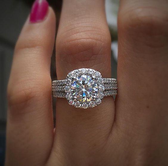 A Three Band Tacori Halo Engagemenet Ring Halo Engagement Rings Pros And Cons Wedding Ring Bands Tacori Engagement Rings Halo Engagement Ring Sets