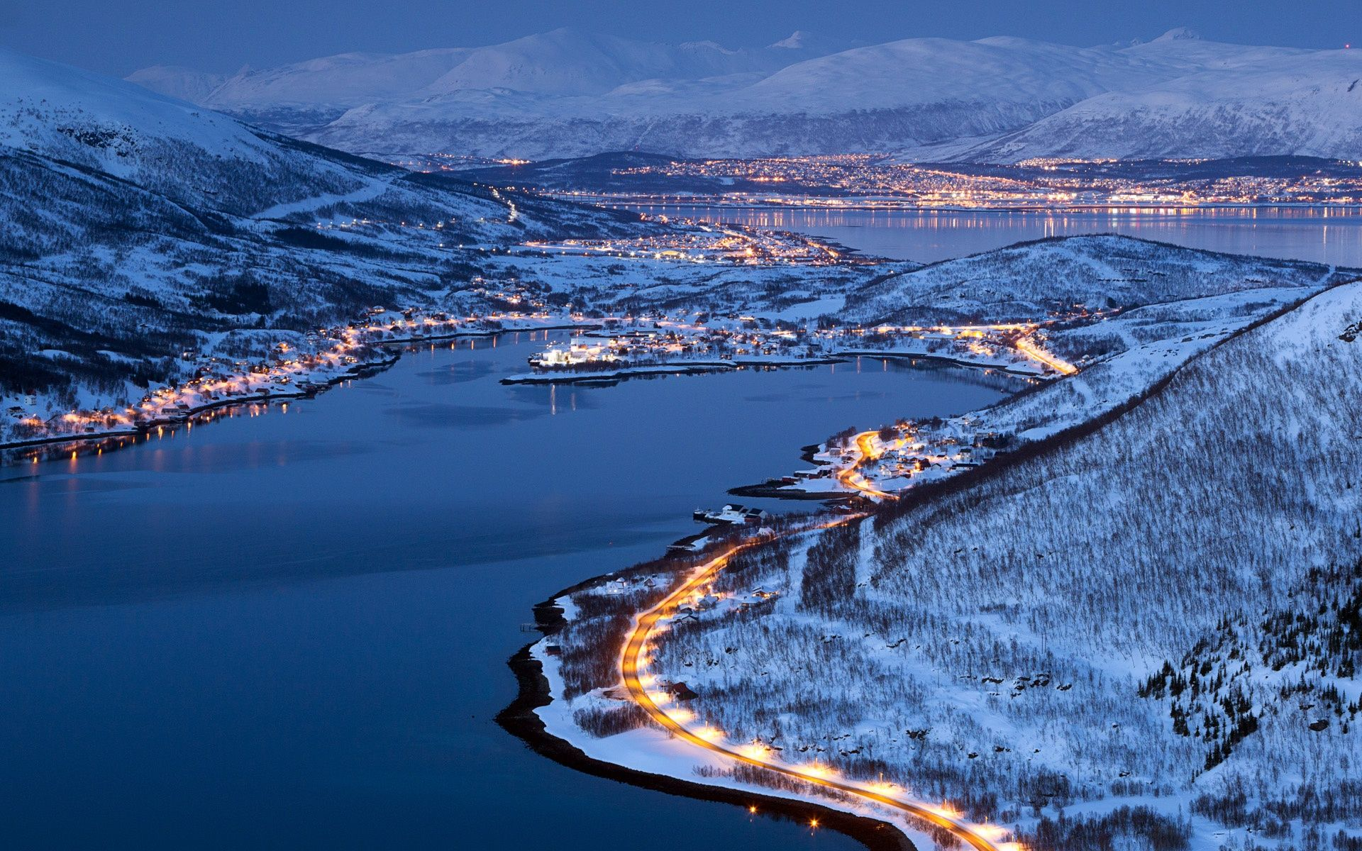 City lights of Tromso, Norway, winter night Wallpapers | HD .