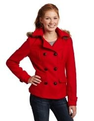 Southpole Juniors Faux Fur Hooded Double Breasted Fashion Peacoat