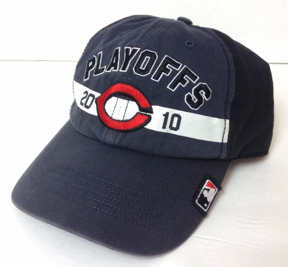 47-Brand 2010 CINCINNATI REDS PLAYOFFS HAT Dark-Gray&Black Relaxed-Fit Men/Women #47Brand #CincinnatiReds