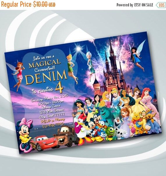 on sale 25% disney castle invitation - disney birthday party, Birthday invitations