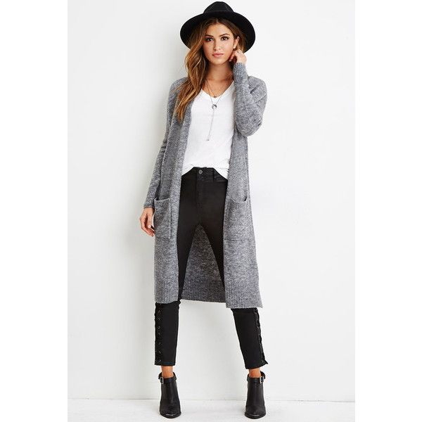 Forever 21 Women's Marled Knit Longline Cardigan ($30) ❤ liked on ...