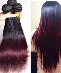 Straight/Body Wave Ombre Hair Two Tone Colored #1B/99J 100% Human Hair Extensions #humanhairextensions