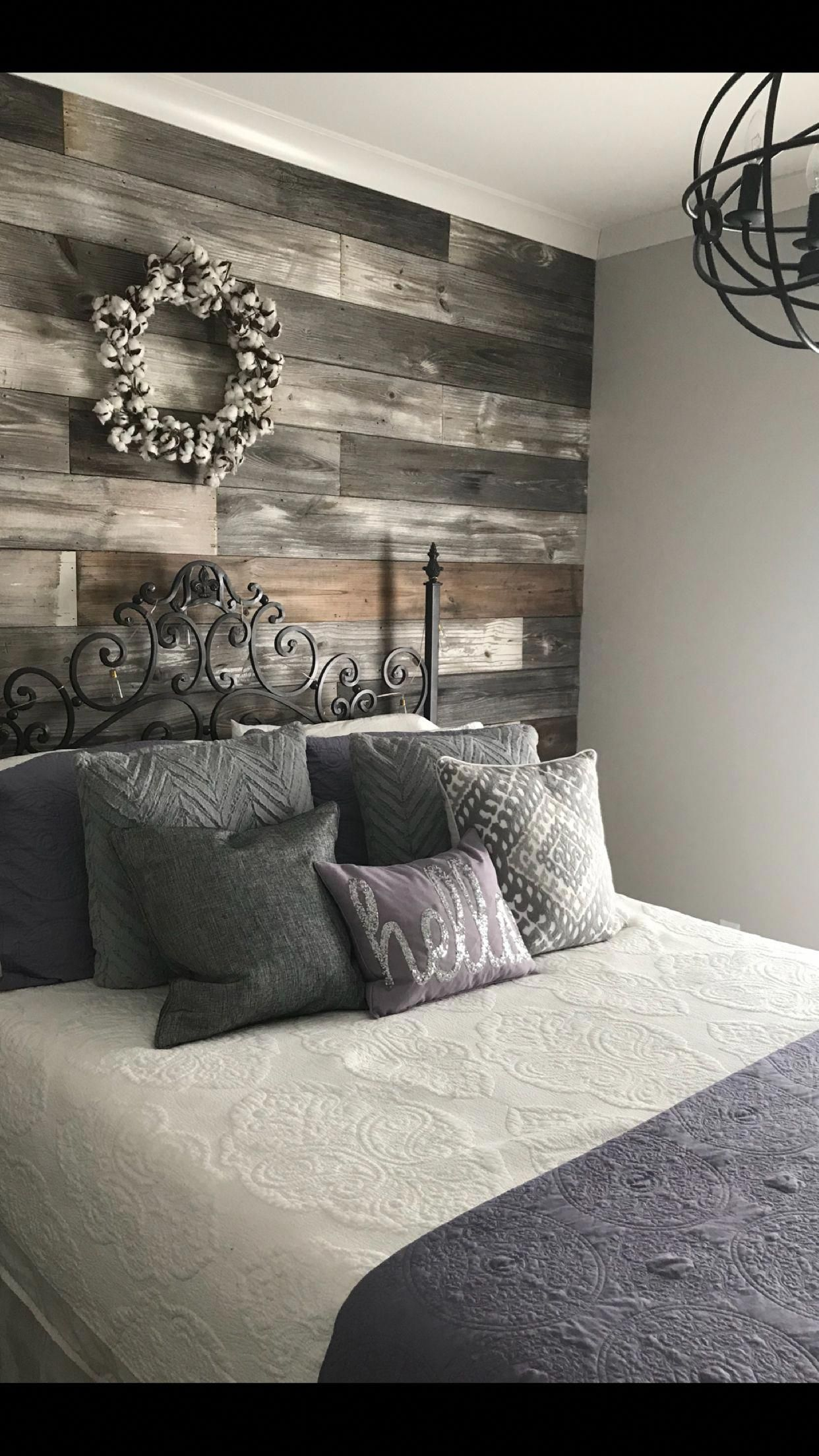 Repurposed shiplap accent wall | Home bedroom, Home ...