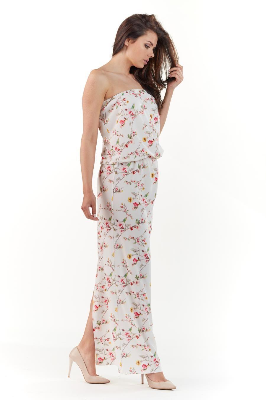 fbabb91424 Długa Letnia Sukienka Ecru w Kwiaty AW219