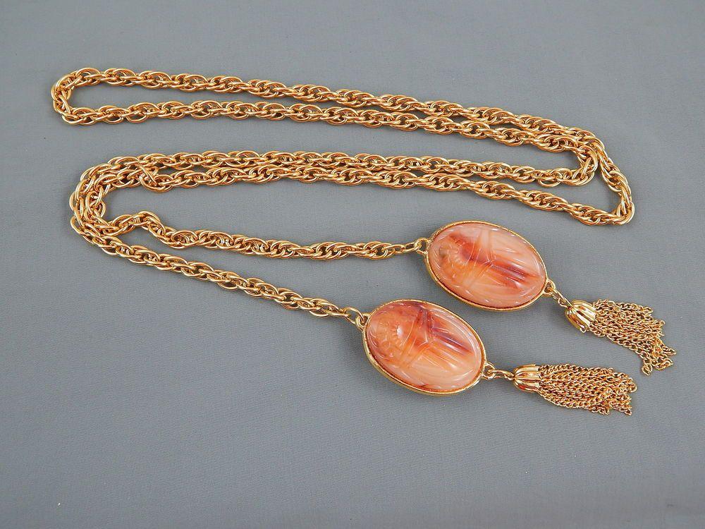 "Vintage Couture Statement Carved Glass Scarab Lariat Tassel Necklace 45"" Unique"