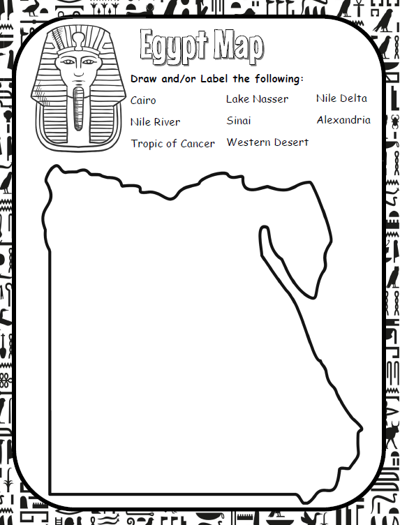 Learn geography with this Egypt map. This worksheet is