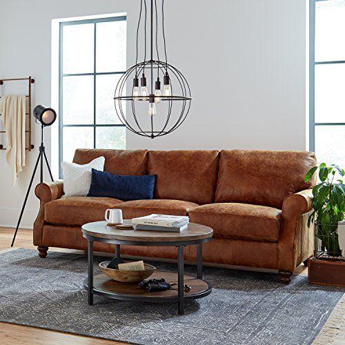 Best Buy Stone & Beam Charles Classic Oversized Leather Sofa ...
