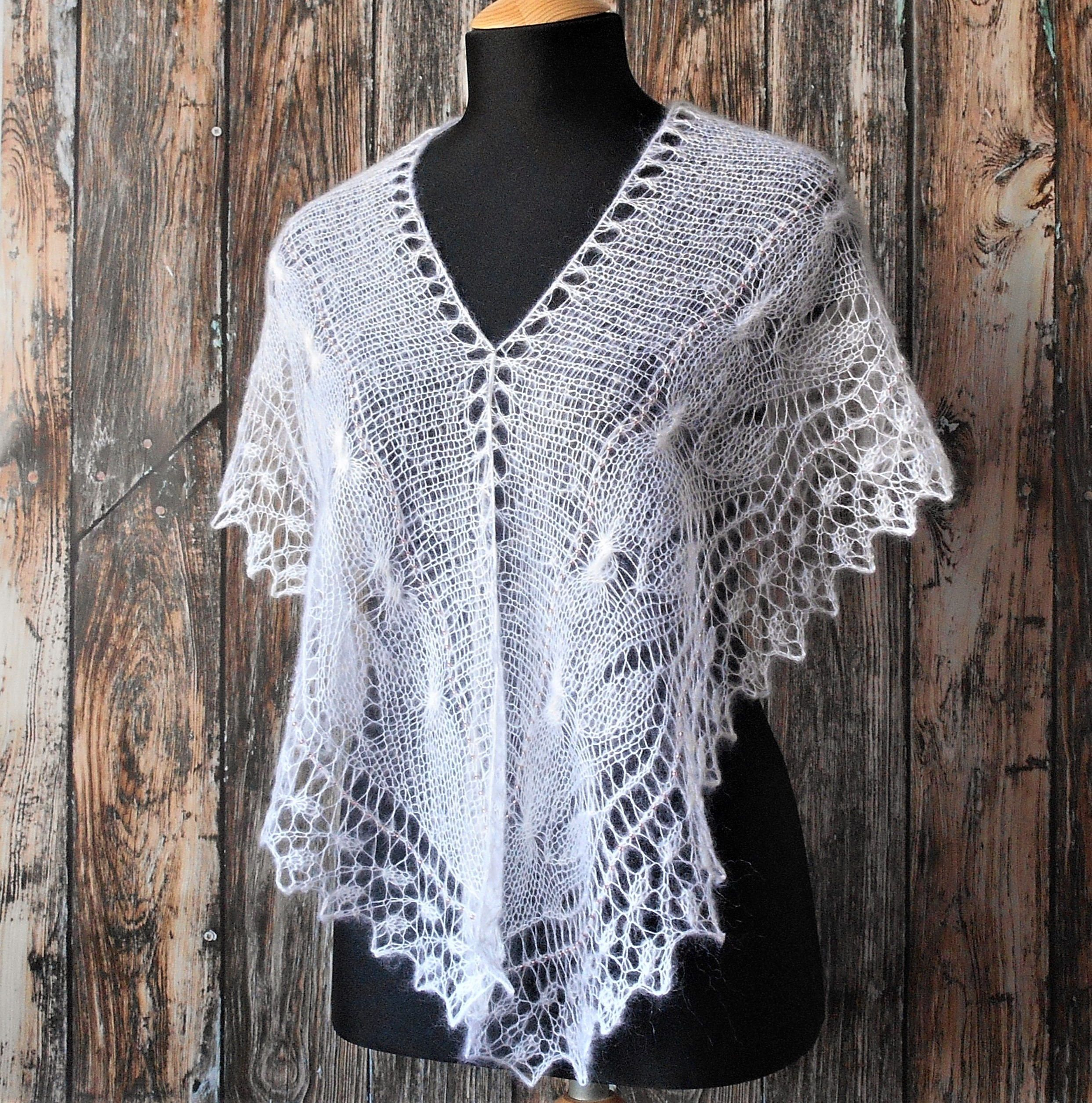 Knitted lace wedding bridal cover up white hand knit lace mohair