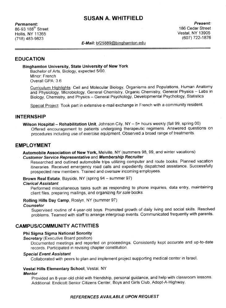 good resume examples for college students sample resumes httpwwwjobresume - College Graduate Sample Resume