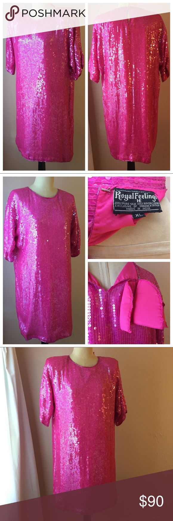 Royal feelings silk s pink sequin mini dress xl shoulder to