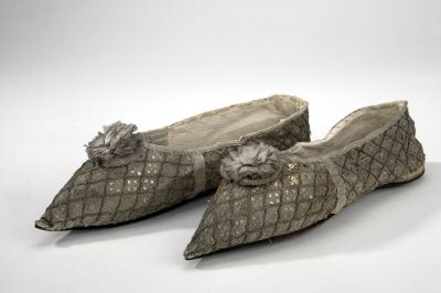 Courtesy of The Royal Armoury (http://emuseumplus.lsh.se/eMuseumPlus). The shoes worn by queen Fredrika as she was crowned alongside her husband Gustav IV Adolf in Norrköping in 1800.