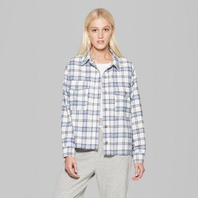 357c795c Women's Plaid Long Sleeve Button-Down Shirt - Wild Fable Ivory Xxl, White
