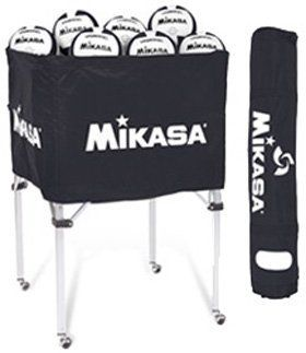 Indoor Volleyball Ball Carts Classic Collapsible Volleyball Cart With Carrying 6 Ball Bag Black By Mikas Indoor Volleyball Volleyball Volleyball Equipment