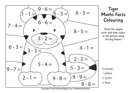 Tiger Maths Facts Colouring Page Math Facts Math Coloring Math