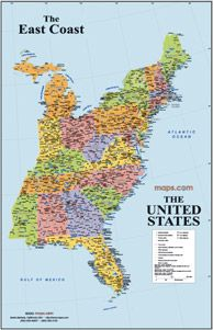 East Coast USA Wall Map | East coast map, East coast usa ...