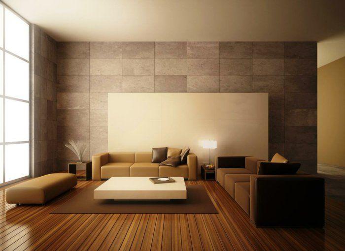Attraktiv Wohnzimmereinrichtung Ideen Braunnuancen Schöne Wandgestaltung