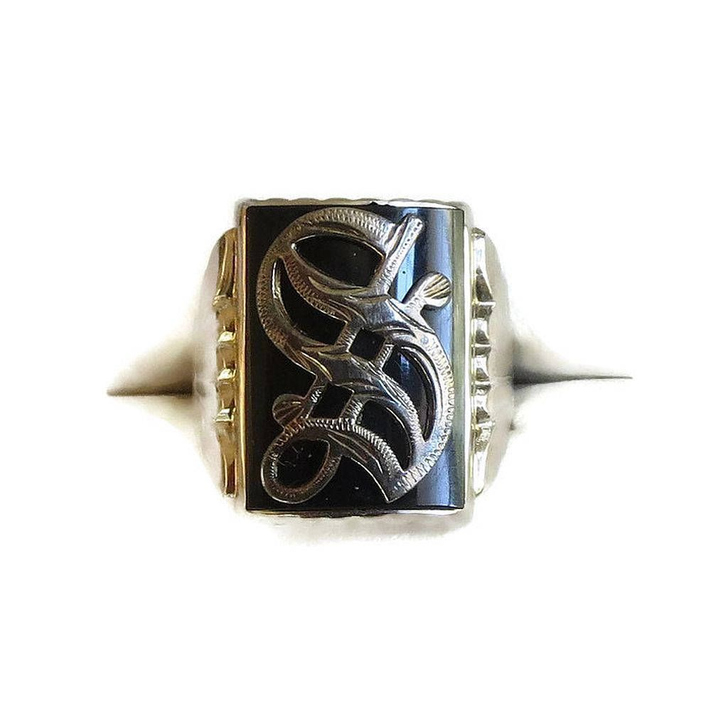 Antique onyx 14k white gold s ring in old english