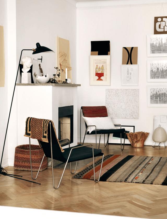 artistic apartment of swedish fashion designer home. Black Bedroom Furniture Sets. Home Design Ideas