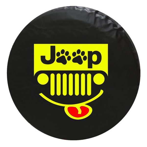 Jeep Paw Grill Vinyl Spare Tire Cover Yellow Jeeptirecovers Jeep Jeepgrill Tire Cover Jeep Tire Cover Spare Tire Covers