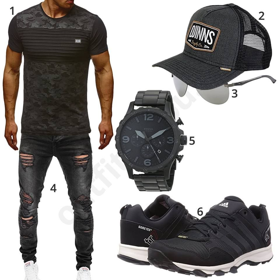 schwarzer herren look mit destroyed jeans m0488. Black Bedroom Furniture Sets. Home Design Ideas