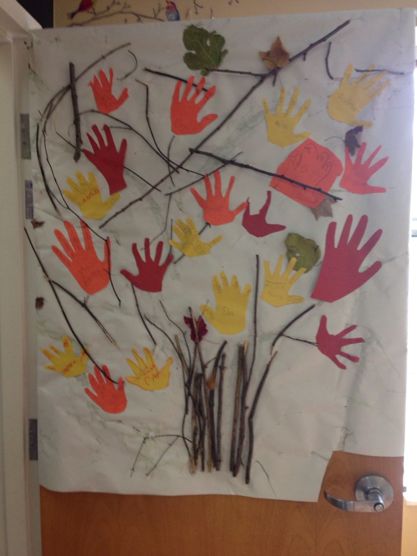 We traced our hand and wrote our name on our palm and then wrote what we are thankful for on our fingers.   We glued small twigs on paper to make our tree trunk.