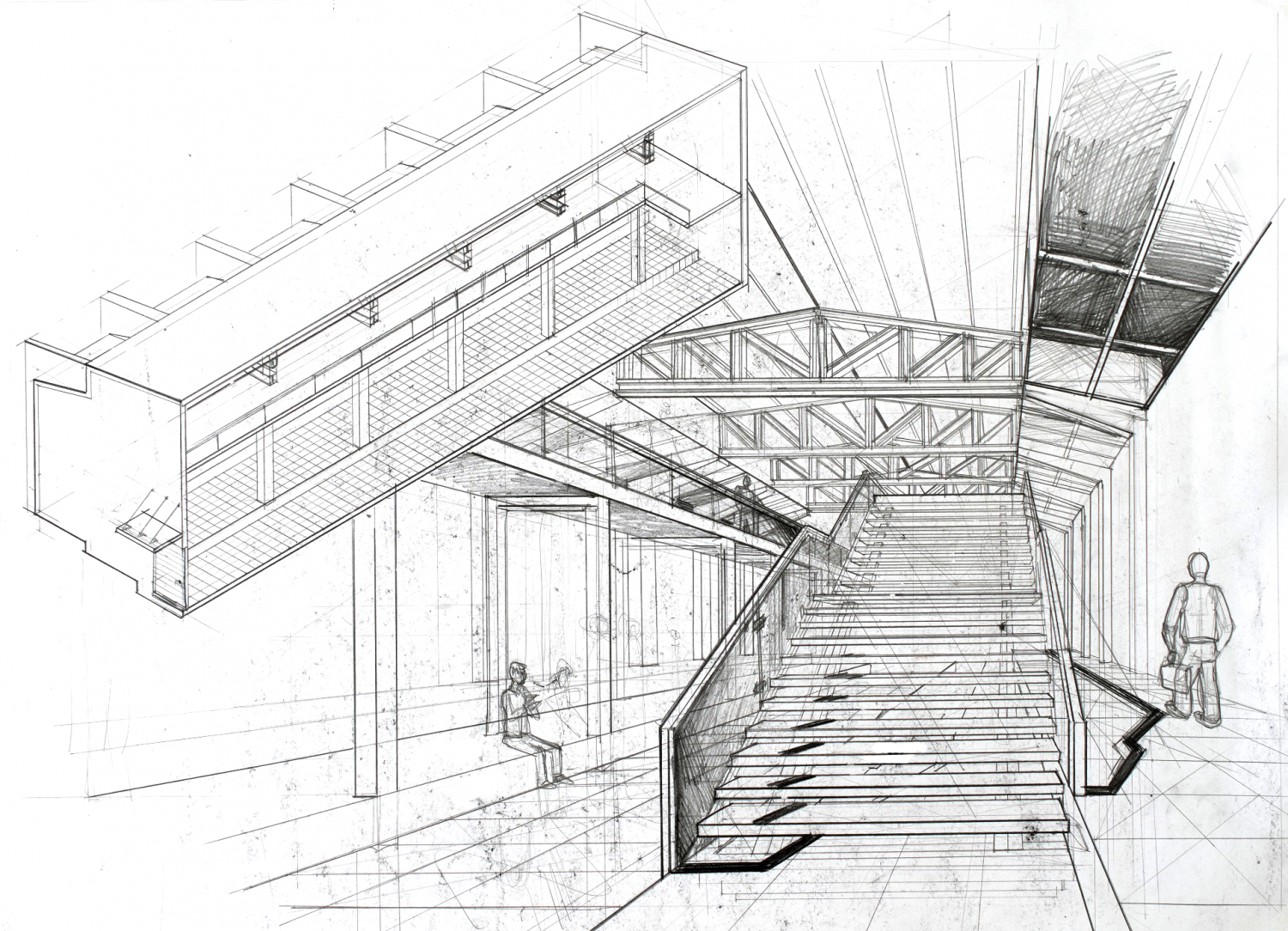 architecture interior perspective architectural drawing