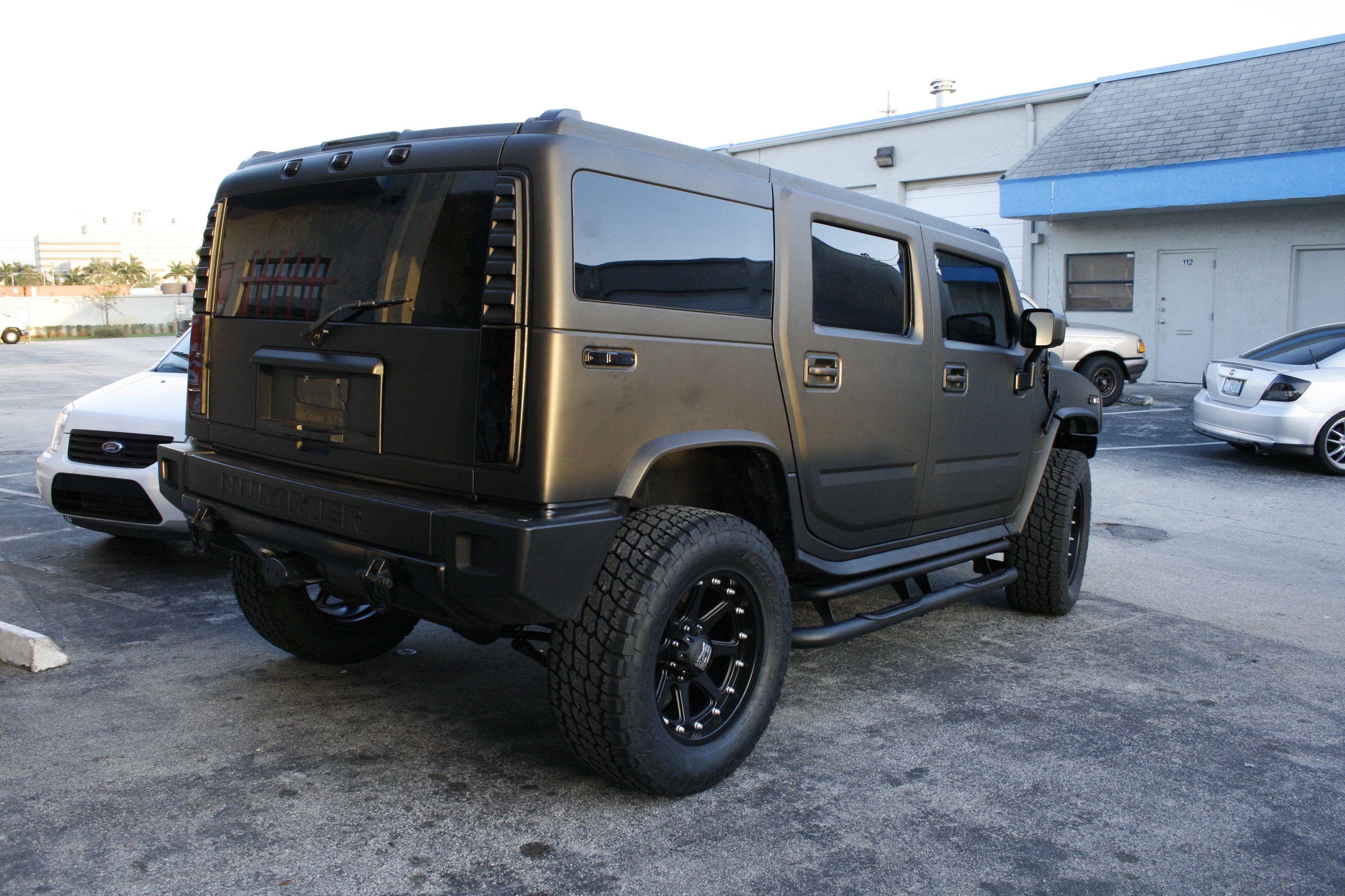 hummer h2 matte black truck wrap miami florida http carwrapsolutions com  [ 3888 x 2592 Pixel ]