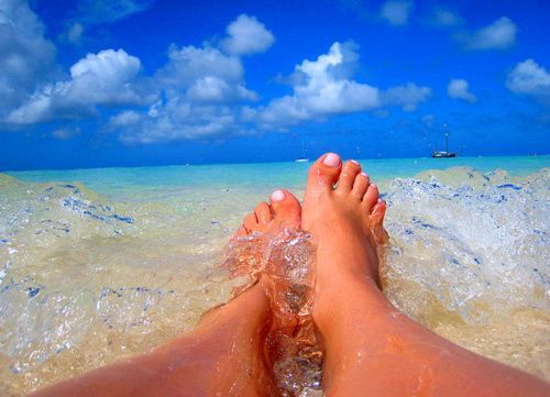 my feet in the surf...