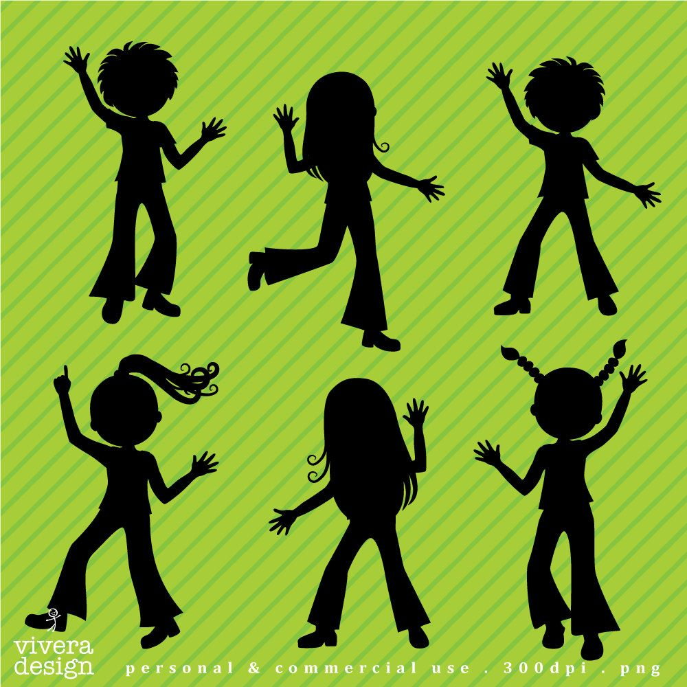 Digital Clip Art - Disco Party Kids Children