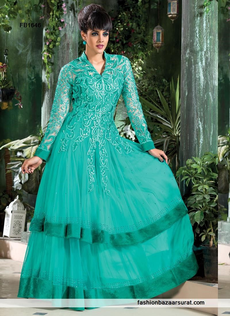 Glowing Rama Green Party Wear Gown | Indian Gowns Online Collections ...