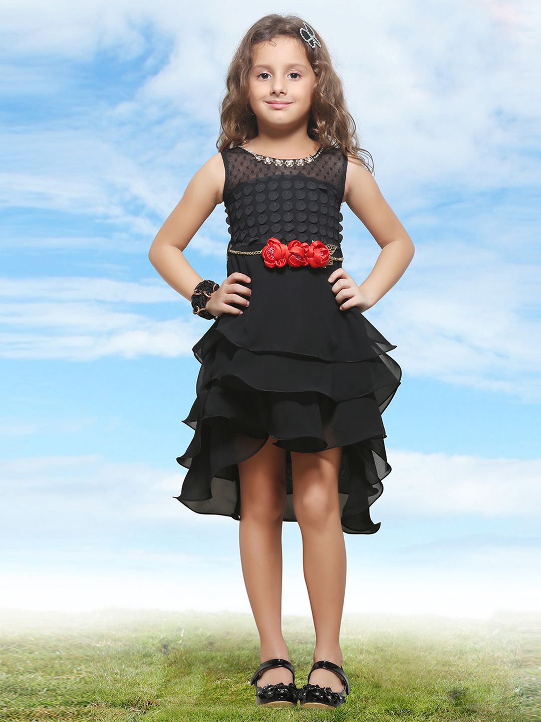 Pink ribbons black georgette frock frock orange prom dresses