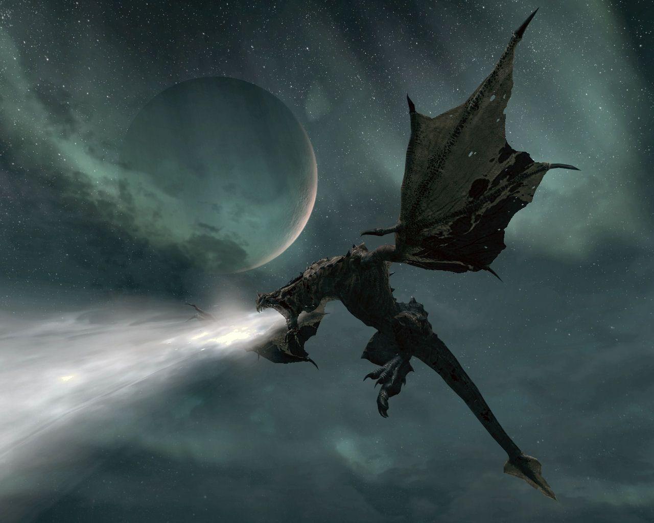 dragons breathing fire skyrim - Google Search | Fantasy ...