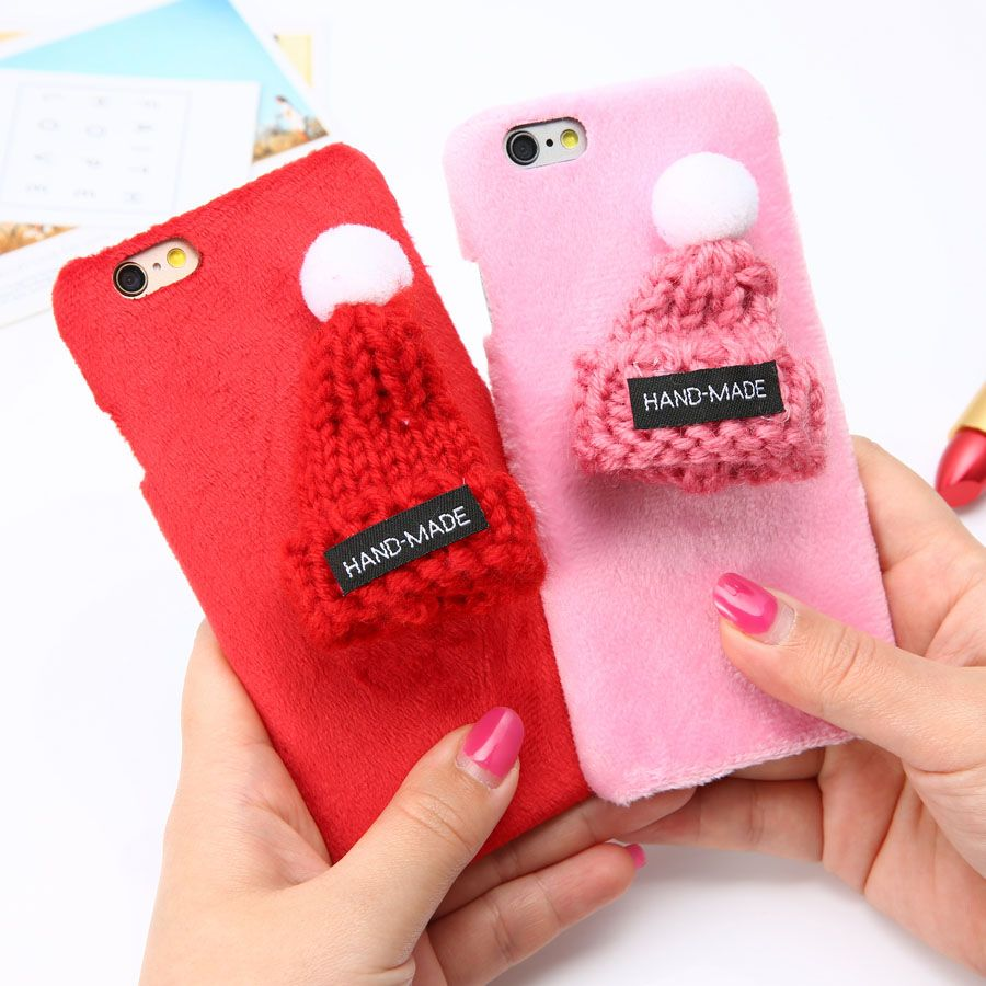 6 6s Diy Fashion Warm Wool Hat Case For Iphone Plus Funda Cute Goospery 7 Soft Feeling Jelly With Hole Stone Plush Fur Hard Pc Cover 47 55 Phone Christmas Gift